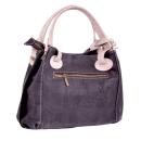 Handtasche mit Lochmuster (schwarz/grau)