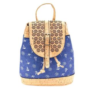 Blauer Rucksack mit Muster (backpack) Seefahrer