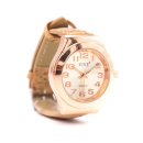 Roséfarbene Uhr mit natürlichem Armband