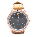 Rosé-/Schwarzfarbene Uhr mit natürlichem Armband