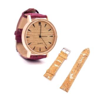 Roséfarbene Uhr mit rotem und natürlichem Armband