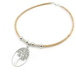 Natürliche Kork Halskette mit Lebensbaum