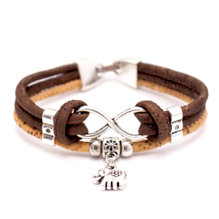 Elefanten Unendlichkeitsarmband (Infinity Bracelet) Braun