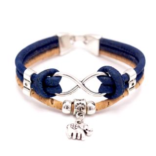 Elefanten Unendlichkeitsarmband (Infinity Bracelet) Dunkelblau
