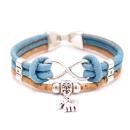 Elefanten Unendlichkeitsarmband (Infinity Bracelet) Hellblau