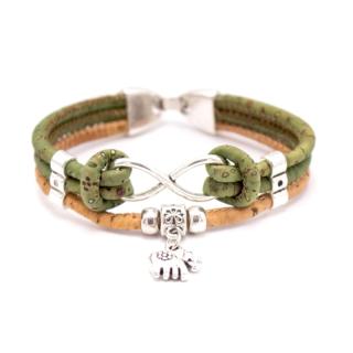 Elefanten Unendlichkeitsarmband (Infinity Bracelet) Grün