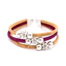Perlen Blumen Armband (Bracelet) Magenta