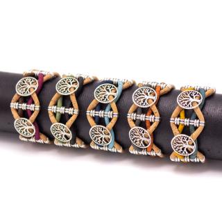 Doppeltes Lebensbaum Armband (Bracelet) grün-schwarz