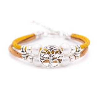 Perlen Lebensbaum Armband (Bracelet) gelb