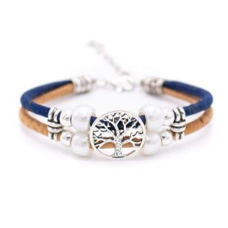 Perlen Lebensbaum Armband (Bracelet) dunkelblau