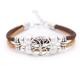 Perlen Lebensbaum Armband (Bracelet) braun