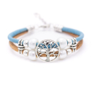 Perlen Lebensbaum Armband (Bracelet) hellblau